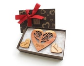 """Personalized Wedding """"Rooted"""" Ornament Set with Monogram Gift Box - Customized Cedar Heart Ornament Set - Timber Green Woods"""