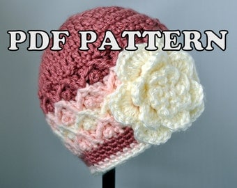 PDF PATTERN - Crochet Diamond Lattice Hat