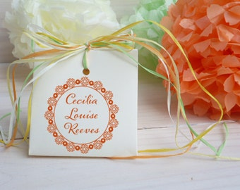 Custom Floral Round Olive Wood Stamp