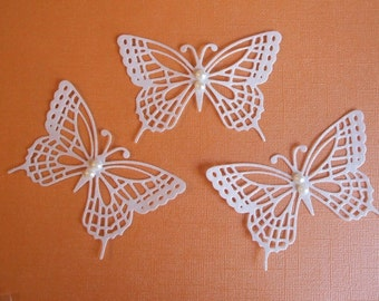 Pretty Pearlescent Flourish II Butterfly Die Cuts with Pearls - Wedding Butterflies