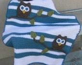 Owl Baby Blanket Blue White Boy Baby Shower Gift