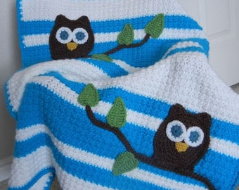 Owl Baby Blanket Aqua and White Baby Shower Gift