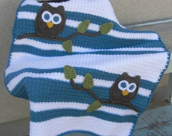 Owl Baby Blanket Blue White Boy Baby Shower Gift