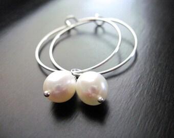 Sterling Silver Hoops, Freshwater Pearls