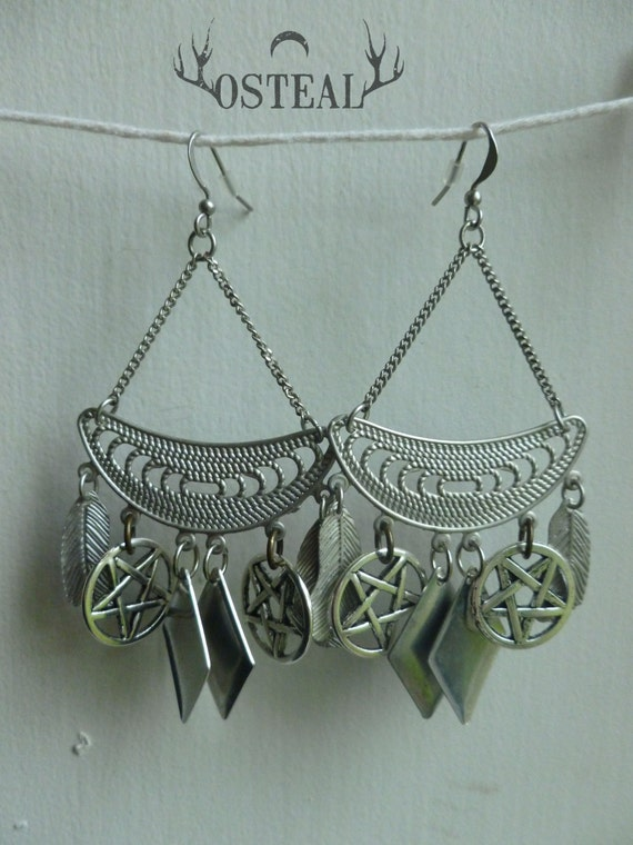 Crescent moon - silver earrings with french hooks