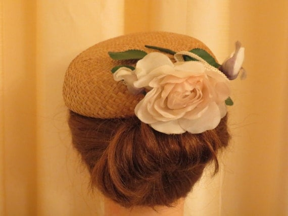 RESERVED FOR SISI Vintage Silk Rose 40s 50s Beautiful Fascinator Hat Headpiece