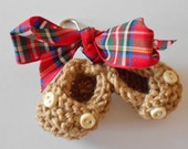 Tiny beige knitted loafer booties key ring/ bag decoration with outsize tartan bow - 1.5 inches - ideal new mom gift or baby shower favor