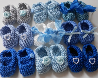 Boy baby shower decorations: 4 pairs hand knit mini booties - 2 inches - shades of blue and white - DECORATION SIZE ONLY