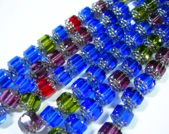25 8mm Cobalt Blue, Olivine, Amethyst with Silver Firepolished Cathedral Czech Glass Beads