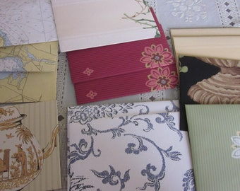 Handmade envelopes with upcycled paper Variety group some with flowers - tea pot - swirls - maps - Labels included  Envelope Gum to moisten