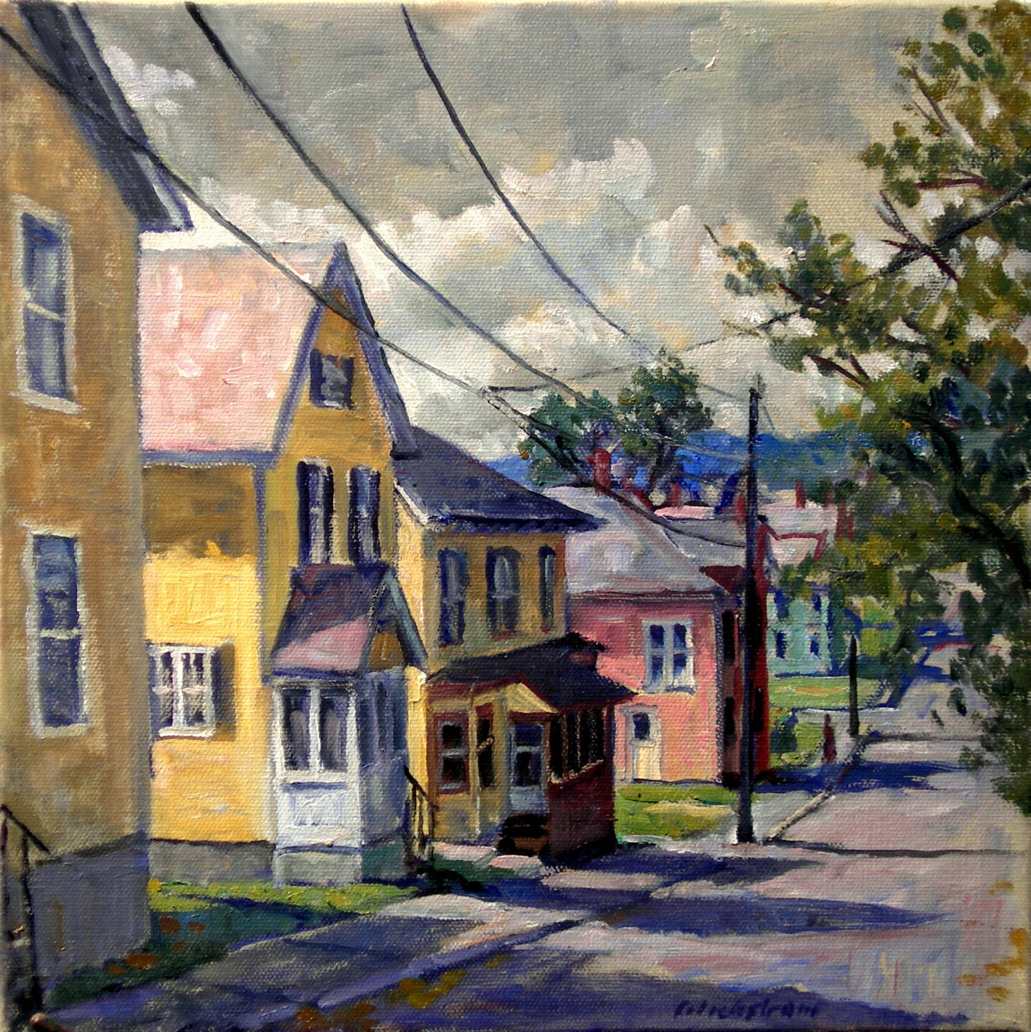 New england houses september original oil on canvas for Oil paintings for the home