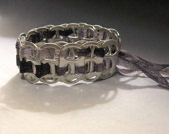 Recycled Soda Pop Can Tab Ribbon Bracelet black & silver ribbon