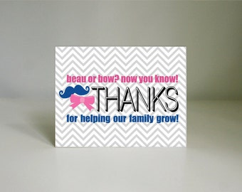 BEAU or BOW Printable Thank You Card- Instant Download