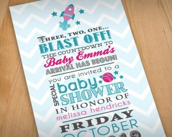 SPACE ROCKET Baby Shower Printable Invitation in Pink and Teal