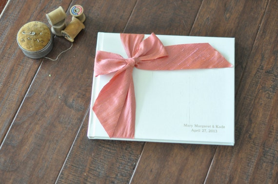 Wedding Album Design - Custom Wedding Guestbook - Silk Dupioni Bow by Claire Magnolia