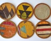 Sukan / Hand Woven - Turkish Antique Kilim Cups Coasters - 6 pcs - yellow, orange, brown, blue