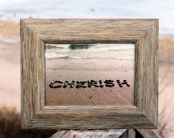 Beach Themed CHERISH Sentiment photo- beach stone word, 5x7 distressed frame, affordable art, coastal decor, rustic frame, romantic gift