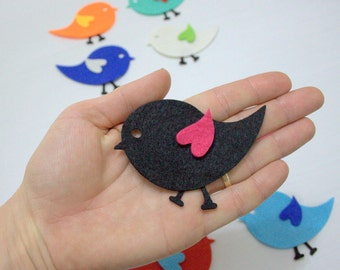 36 Pieces, 12 Sets Die Cut Felt Winged Baby Bird For Easter DIY Kits, Spring Themes