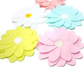Pastel Colours, 5 Set X-Large Felt Petal Flowers,  Embellishments For Your Spring Projects