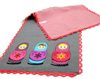 Matryoshka Appliqued Table Runner, Black-White Checked Coton Fabric with Red-White Lining and Pink Felt Trim