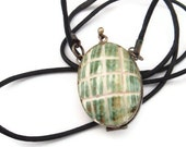 Green Shell Vintage Boho locket trinket stash keepsake necklace