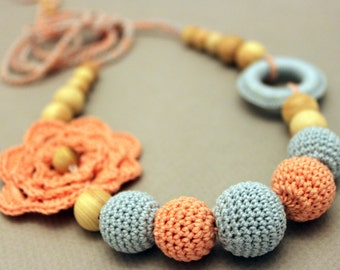 Coral Blue Wooden Nursing Necklace Teething Necklace with Flower and Ring