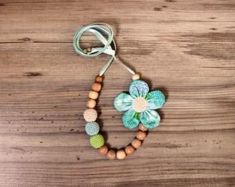 Lime Blue Aqua Teething necklace / Babywearing Nursing Necklace
