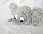 Crocheted baby elephant beanie hat 0-3 month newborn shower gift infant head covering warm winter costume african zoo animal pachyderm