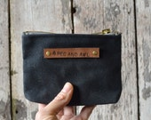 Small Waxed Canvas Pouch in Coal, Zipper pouch, wallet pouch, zipper wallet, waxed canvas bag, waxed canvas pouch, zip pouch, men's gift,