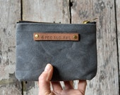 Small Waxed Canvas Pouch in Slate, Zipper pouch, wallet pouch, zipper wallet, waxed canvas bag , waxed canvas pouch, zip pouch, canvas pouch
