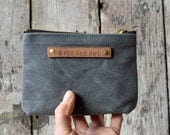 Small Waxed Canvas Pouch: Slate by Peg and Awl