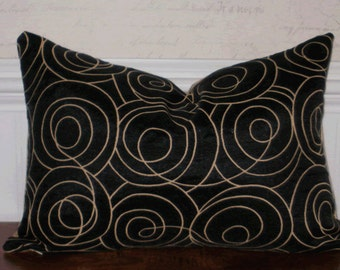 Decorative Pillow: 12 X 18 Upholstery Accent Throw Pillow Cover in Black Swirl with Tobacco Damask Backing
