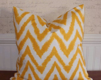 SALE ~ Decorative Pillow: 18 X 18 Yellow and White Chevron Ikat Designer  Pillow Cover