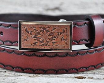 Southern Flower Leather Belt