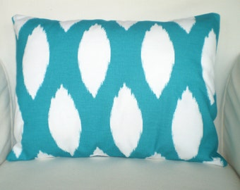 Turquoise Ikat Pillow Cover, Decorative Throw Pillows, Lumbar Cushion, True Turquoise White Oval Ikat Chaz Accent One 12 x 16 or 12 x 18