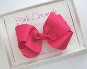 "Pink Hair Bow, Large 4"" Shocking Pink Hair Bow, Classic Hair Bows, Basic Pink Hair Bow, Toddler Bows, Bright Pink Hair Bow"