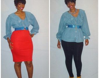 Vintage 1990s Denim Ruffle Collar Blouse