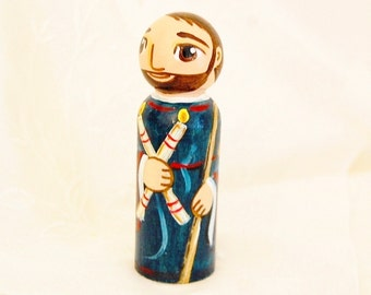 St. Blaise Catholic Saint Doll - Wooden Toy - Made to Order