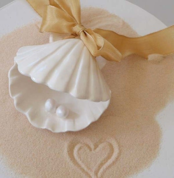 Wedding or Anniversary Cake Top Scallop Shell and Pearls