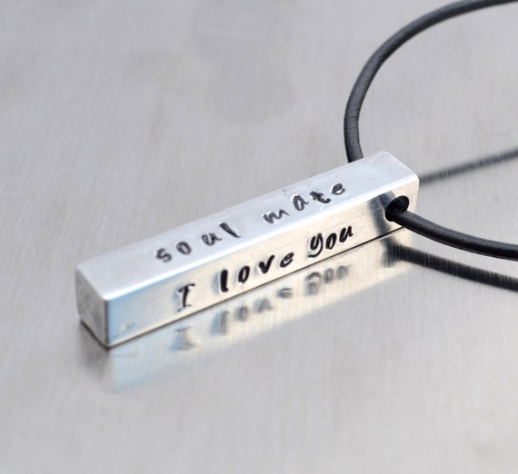 Personalized Bar Necklace, Hand Stamped Necklace for Men Husband Son Father Dad Boyfriend Gift