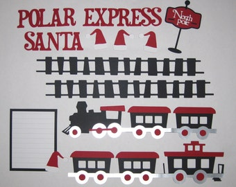 SANTA POLAR EXPRESS Train Black Premade Scrapbook Border Set / Page Layout 12x12 Christmas