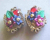 Special listing for Dawne only--VINTAGE EARRINGS, Clip on Style, GORGEOUS Colors, 1960's Era, Lovely, Colorful Flowers, Vibrant Colors-Wow