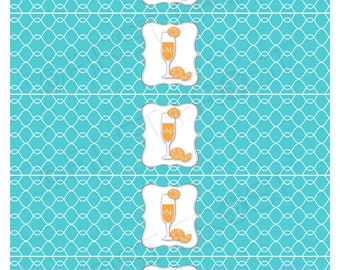 Monograms & Mimosas Printable Water Bottle Labels