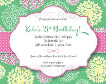 Floral Fun Printable Invitation - Wedding Bridal Shower Tea Luncheon Birthday