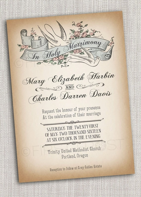 Vintage Style Printable Wedding Invitation Bridal Announcement