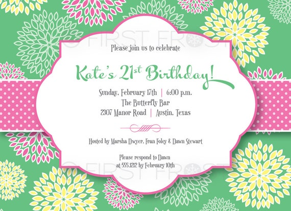 floral fun printable invitation wedding bridal shower tea, Birthday invitations