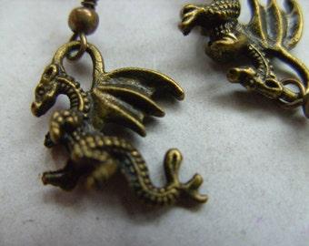 Bronze, DRAGON,dragon earrings, bronze dragon earrings,  earrings, 3d, by NewellsJewels on etsy