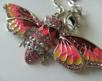 Lovely, Cicada, red pink yellow, feature necklace, brooch, crystal, by NewellsJewels on etsy