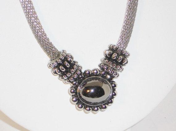 Vintage Silver Mesh Hematite Pendant Necklace Jewelry Women
