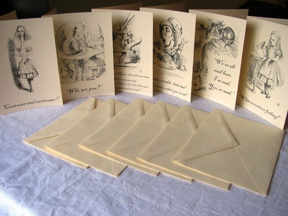 Alice in Wonderland Notecards- Set of 100- Vintage illustrations and quotes from book- blank inside